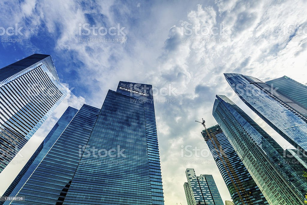 Contemporary Glass Skyscrapers in Singapore Business District royalty-free stock photo