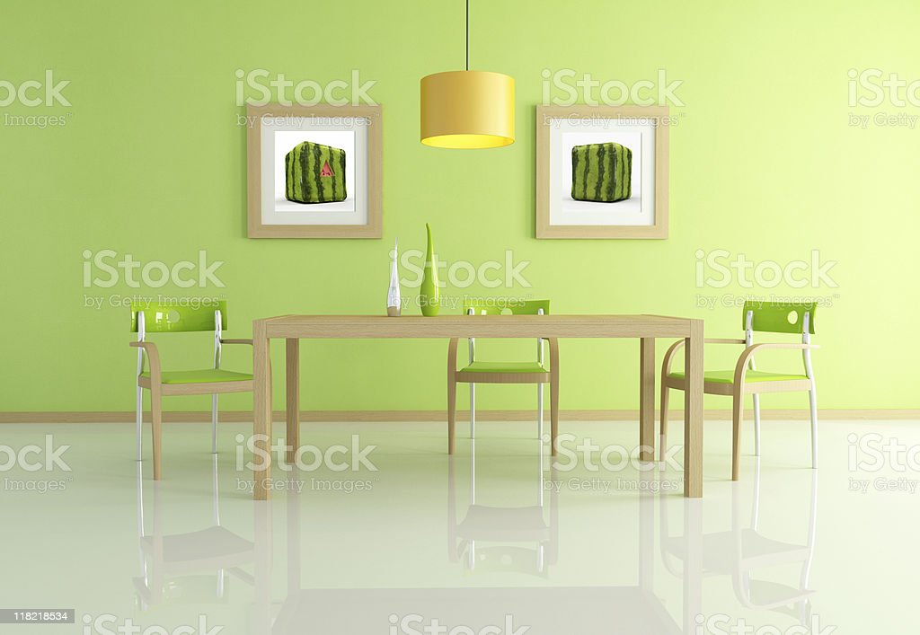 contemporary green dining room royalty-free stock photo