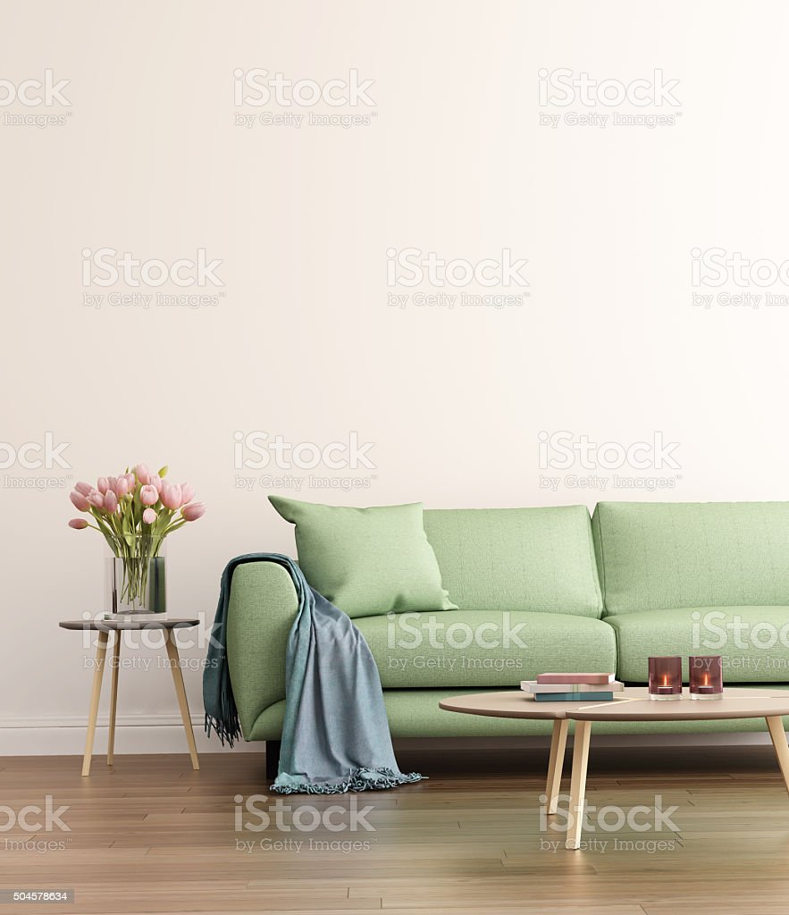 Contemporary green living room stock photo