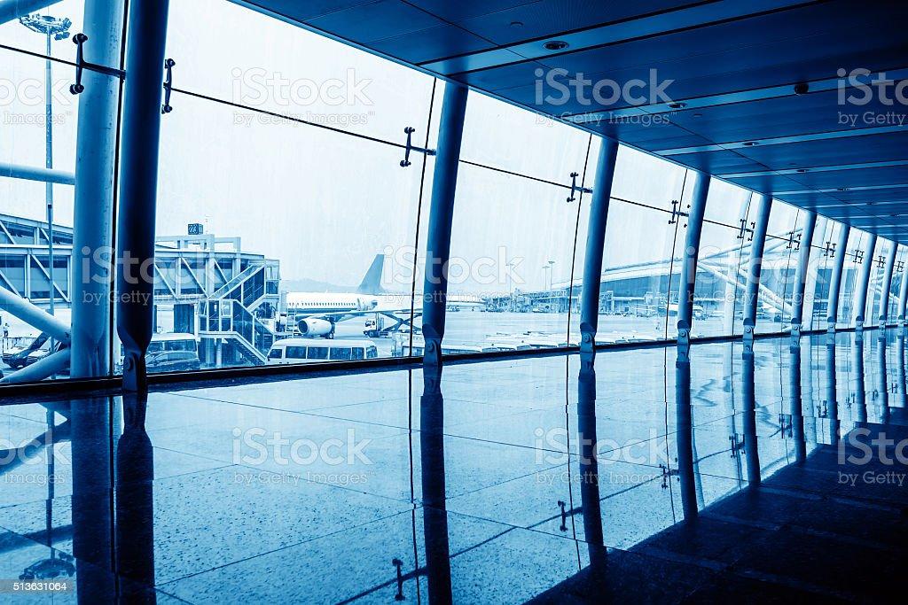 contemporary hallway of airport stock photo
