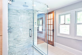 Contemporary Home Bathroom glass Shower Stall with Marble Tiles