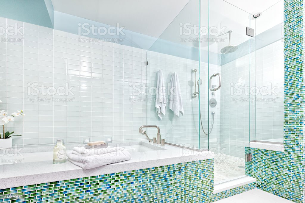 Contemporary Home Bathroom With Shower Stall Tub And Glass Tiles