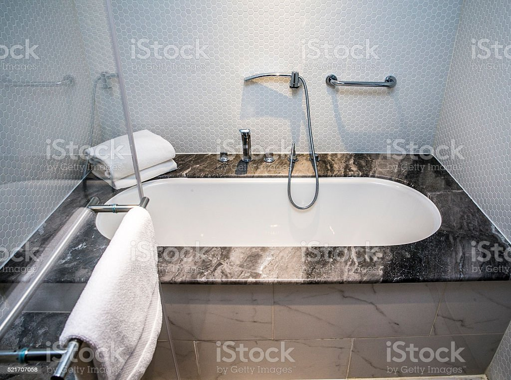 Contemporary Home Bathroom with Shower Stall, Tub stock photo