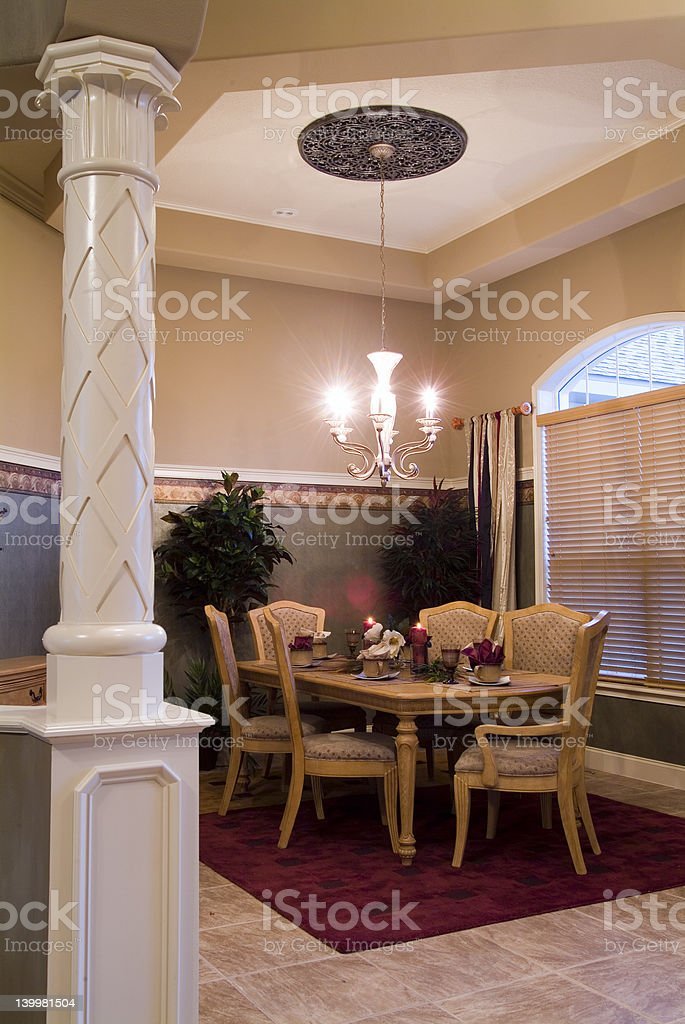 Contemporary home dining room fro eating and entertaining royalty-free stock photo