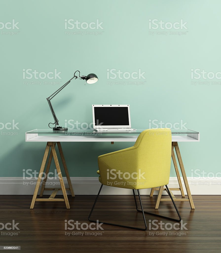 Contemporary home office stock photo
