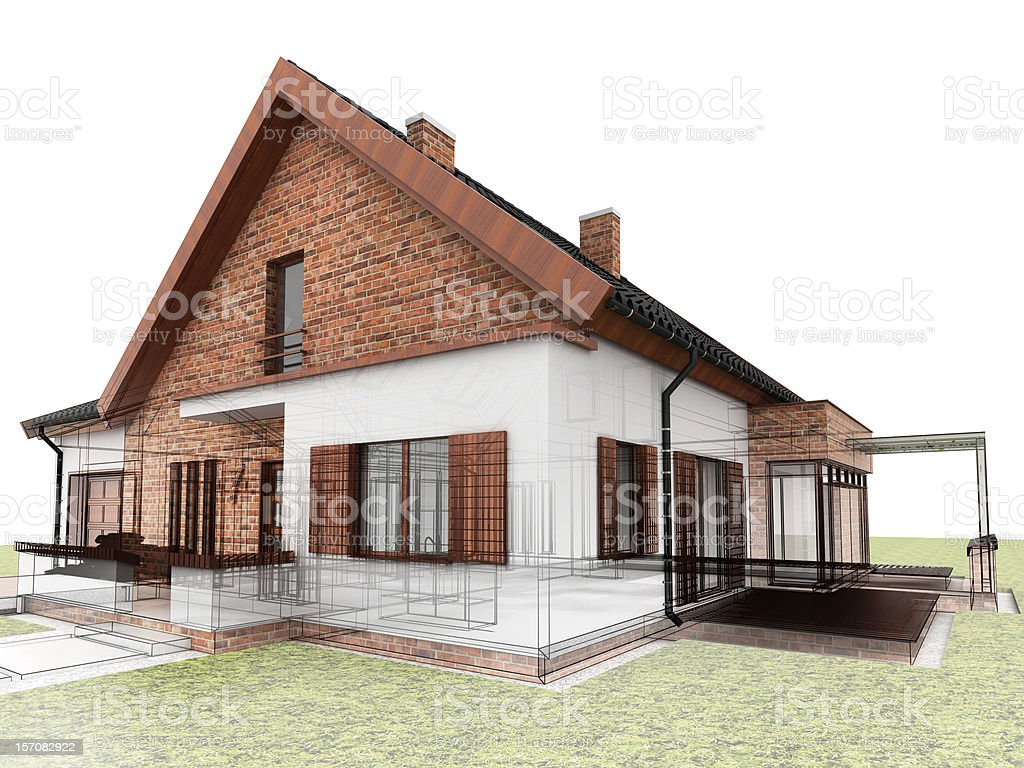 Contemporary house design stock photo