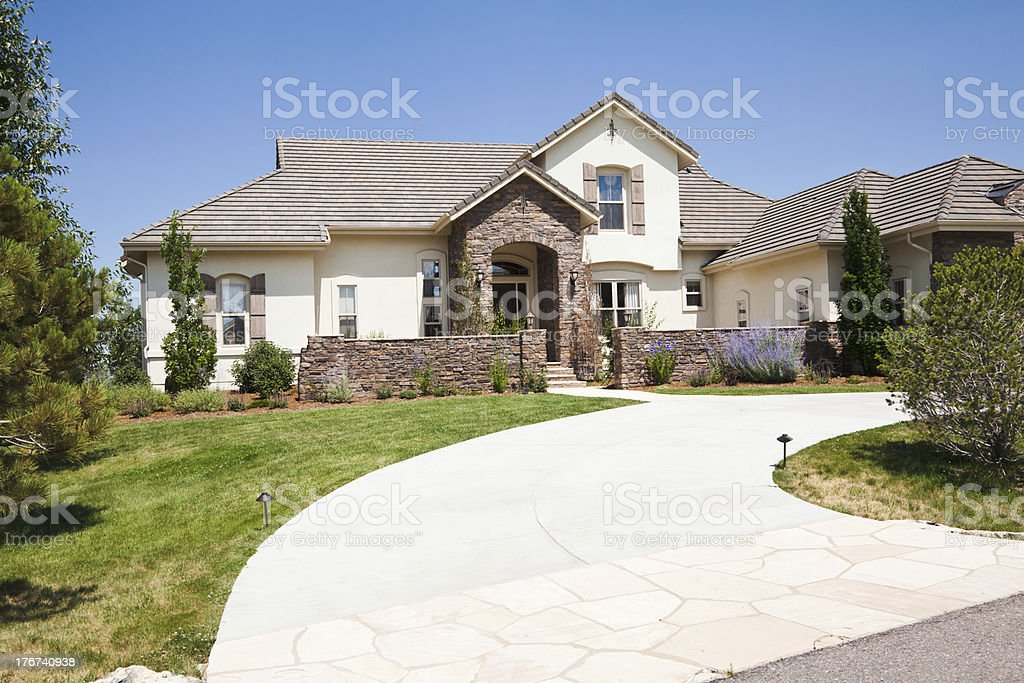 Contemporary house set in neighborhood in Colorado  stock photo