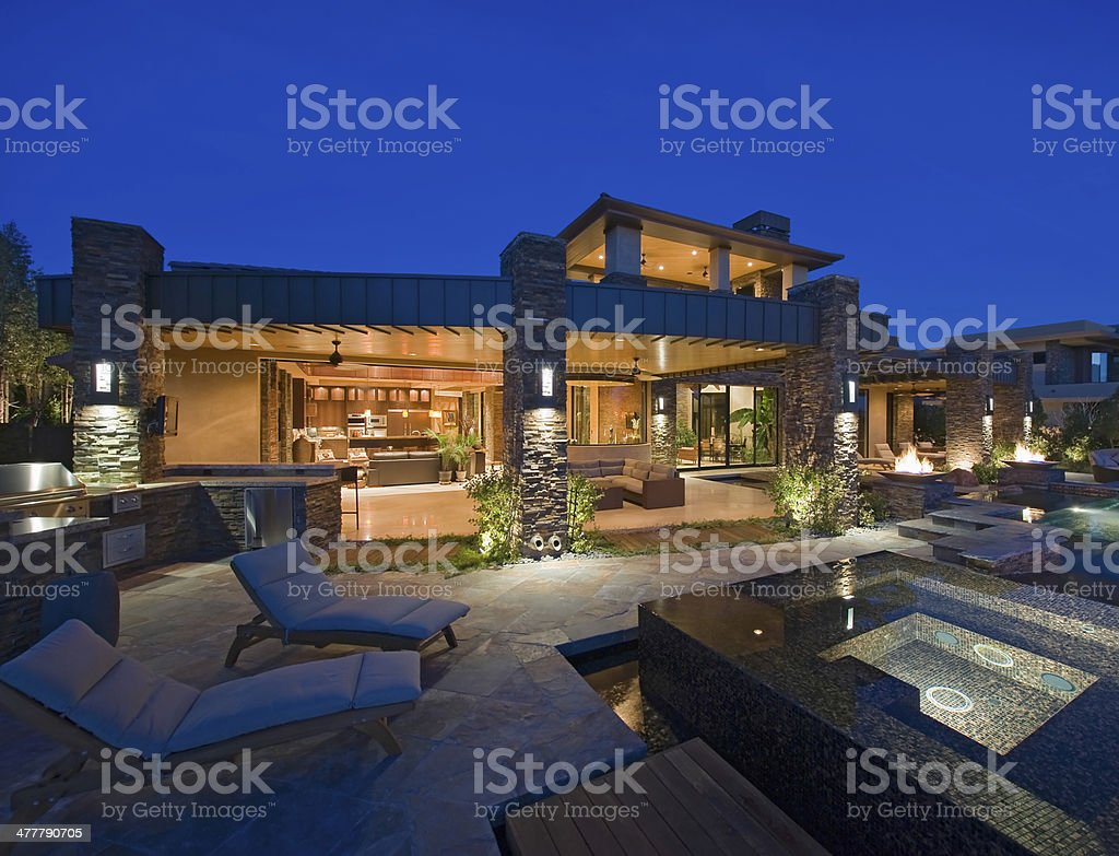 Contemporary House With Plunge Pool stock photo