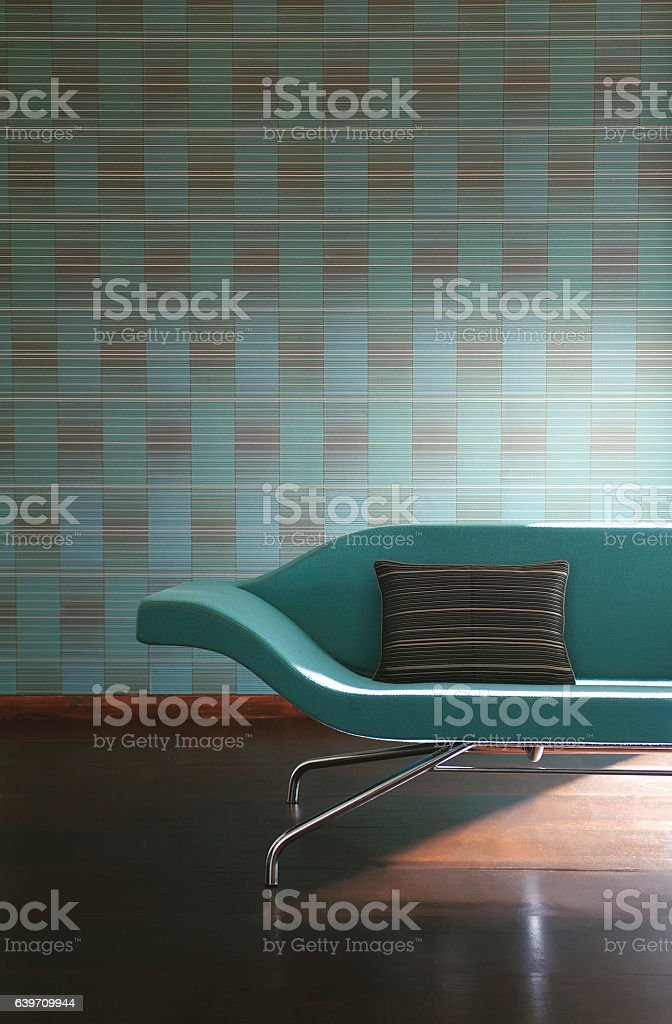 Contemporary Interior of sofa in living room stock photo