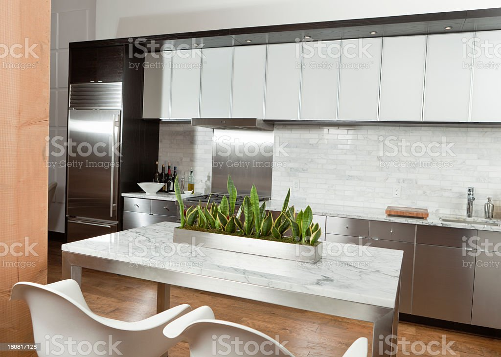 Contemporary Kitchen Design, Stainless Steel, Marble in Modern Condominium Home royalty-free stock photo