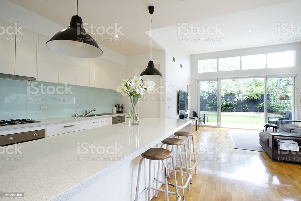 Contemporary kitchen living room stock photo