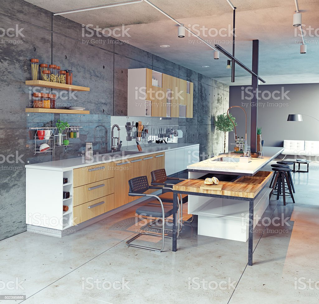 contemporary kitchen stock photo