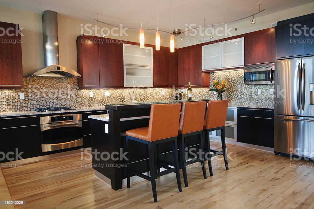 Contemporary kitchen with kitchen bar island stock photo