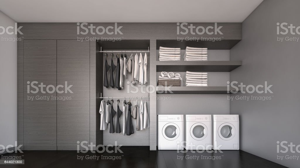 Contemporary laundry room / 3D Rendering stock photo