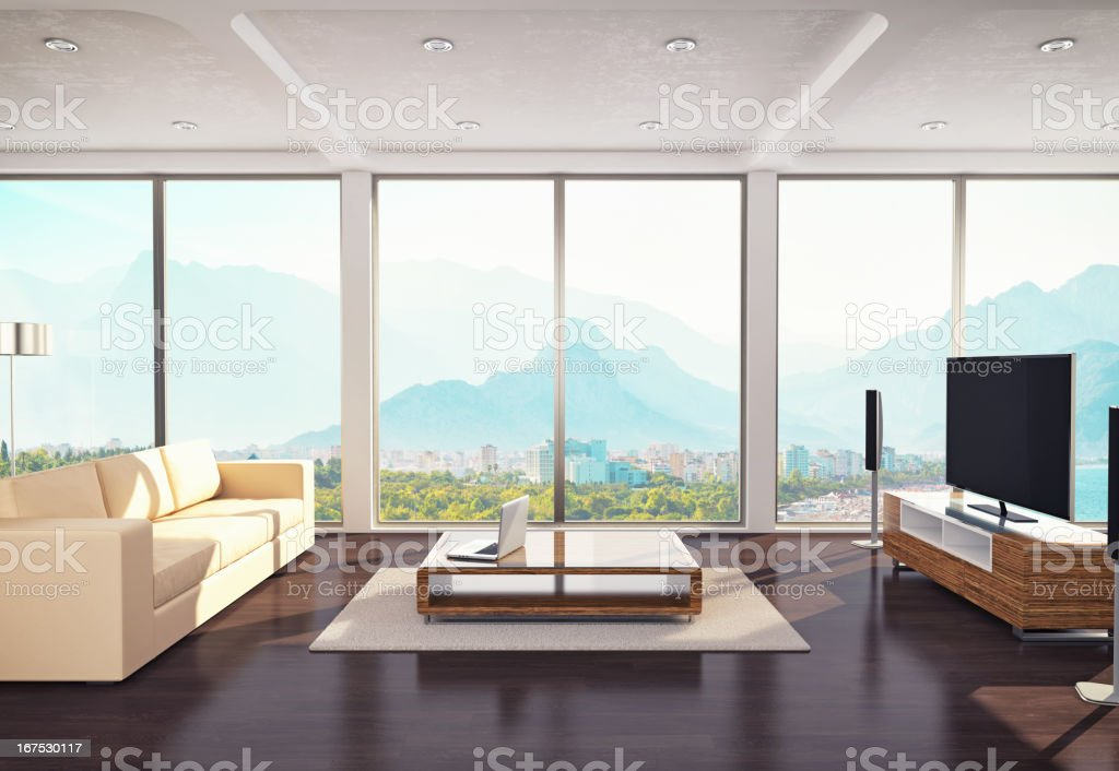 Contemporary Living Room Design stock photo