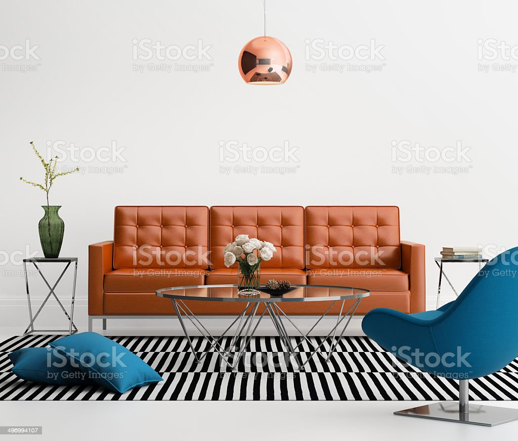 Contemporary living room with orange leather sofa stock photo