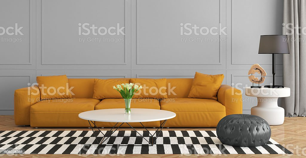 Contemporary living room with orange sofa stock photo