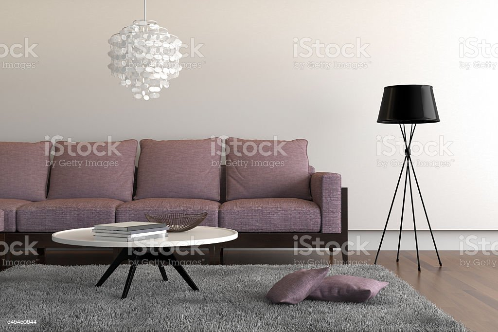 Contemporary  living room with purple sofa stock photo
