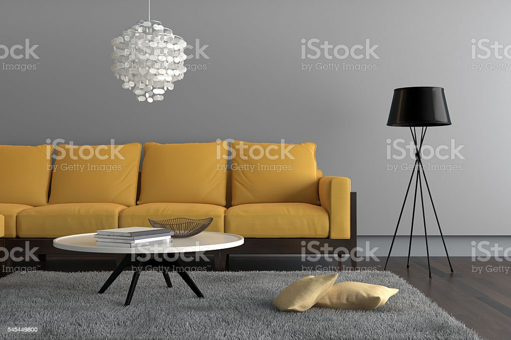 Contemporary  living room with yellow sofa stock photo