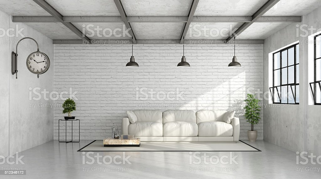 Contemporary Loft interior stock photo