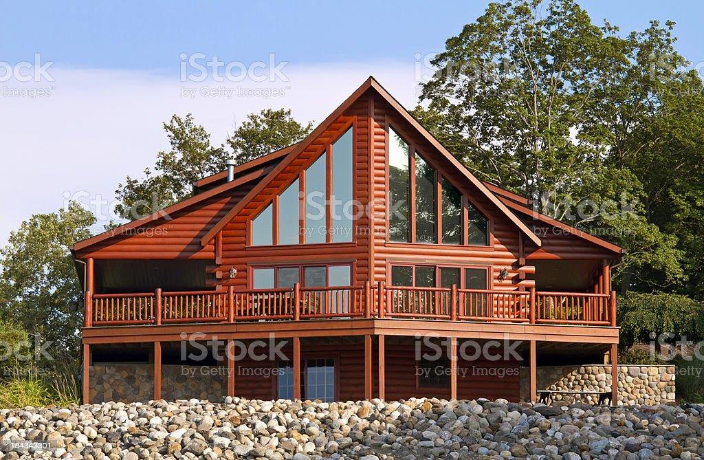 Contemporary Log House stock photo