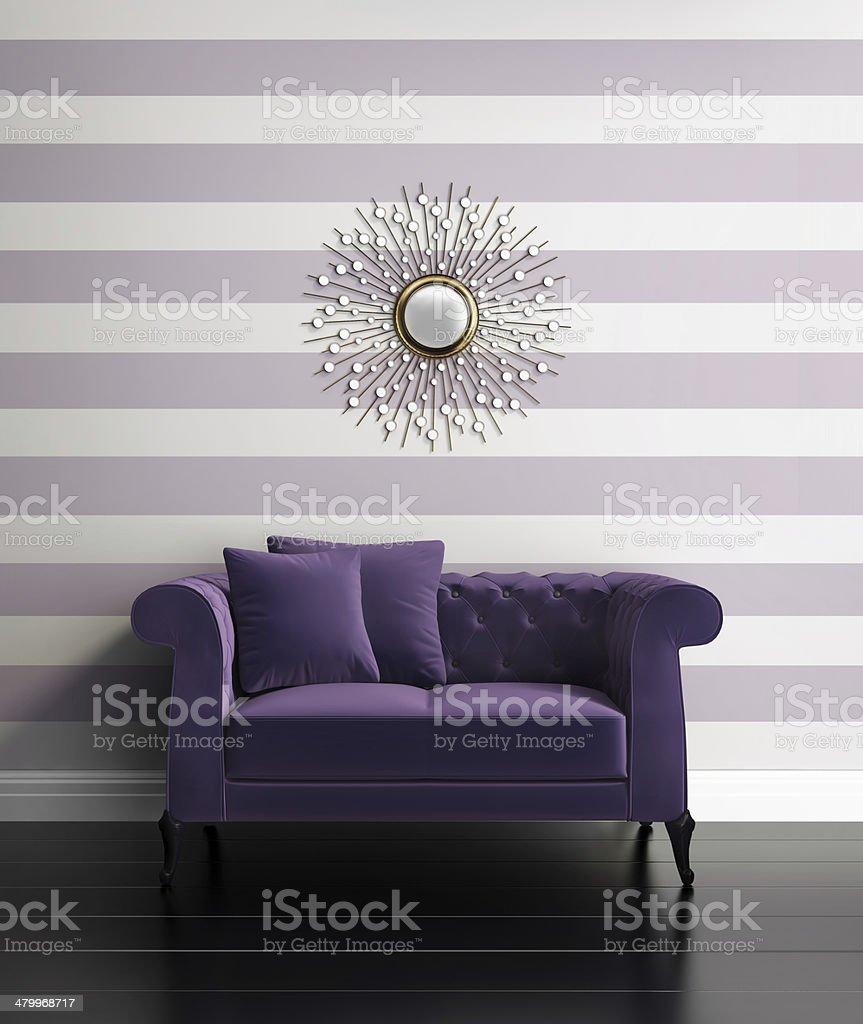 Contemporary luxury hallway with purple stripes stock photo