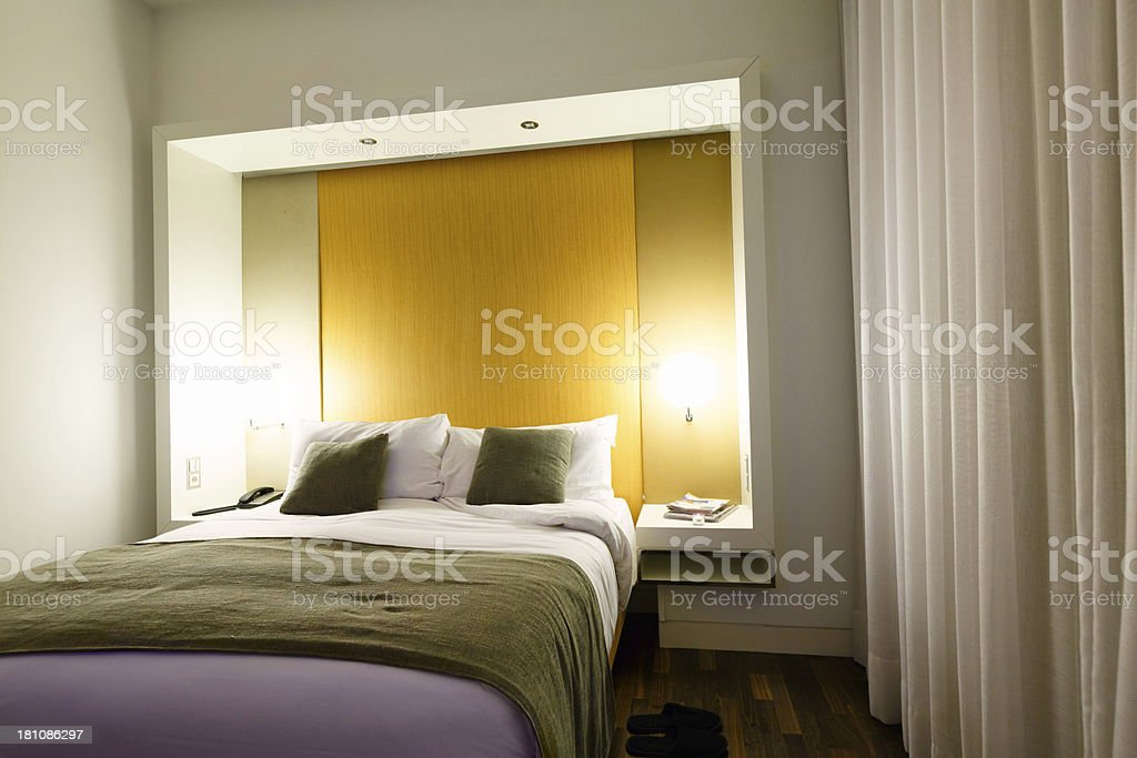 Contemporary master bedroom in luxury hotel royalty-free stock photo