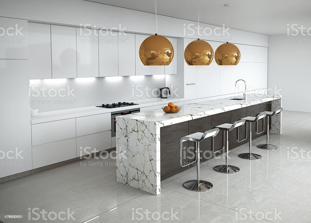 Contemporary minimal white kitchen with marble and wood details stock photo