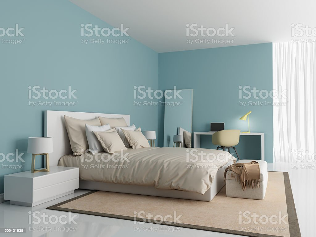 Contemporary modern light blue bedroom stock photo