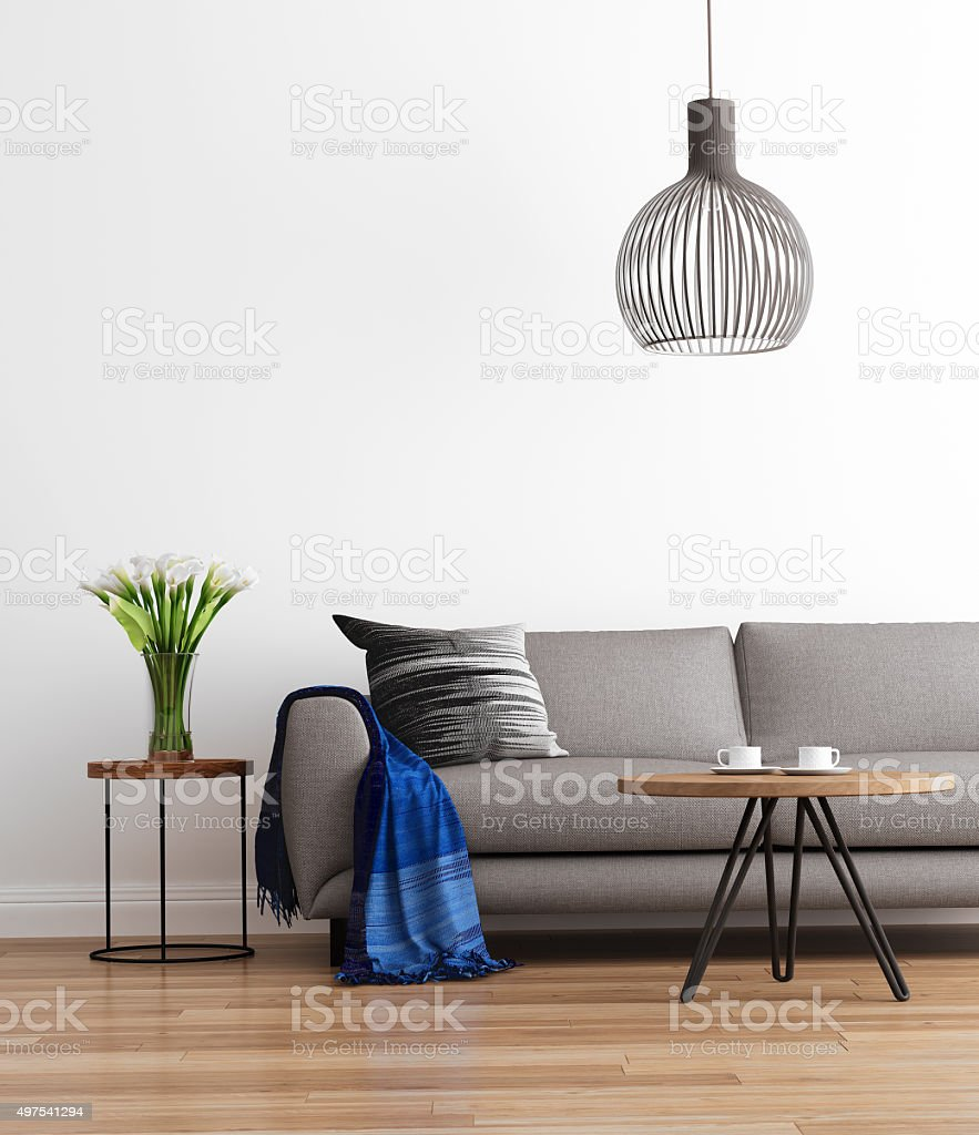 Contemporary modern living room with grey sofa stock photo