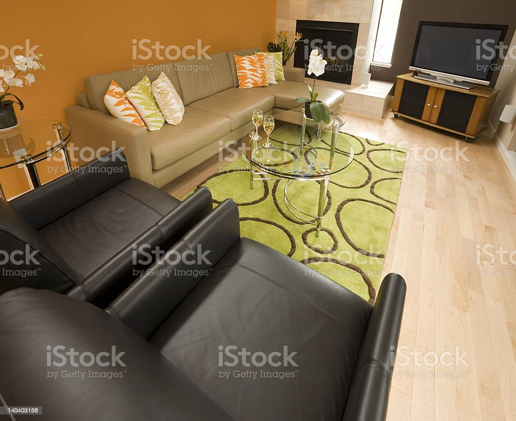 Contemporary / Modern Residential Family Room royalty-free stock photo