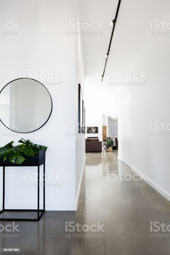 Contemporary new home entry and hallway stock photo