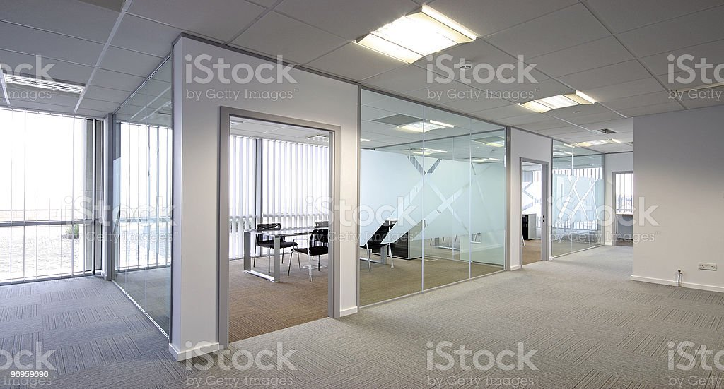 Contemporary office with an open-concept layout stock photo