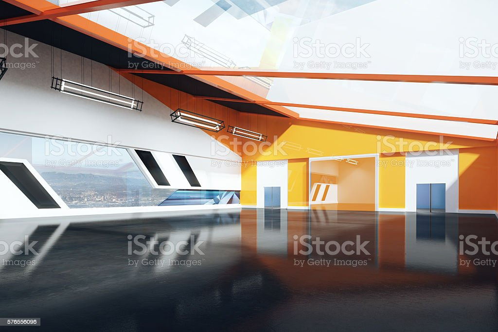 Contemporary orange interior stock photo