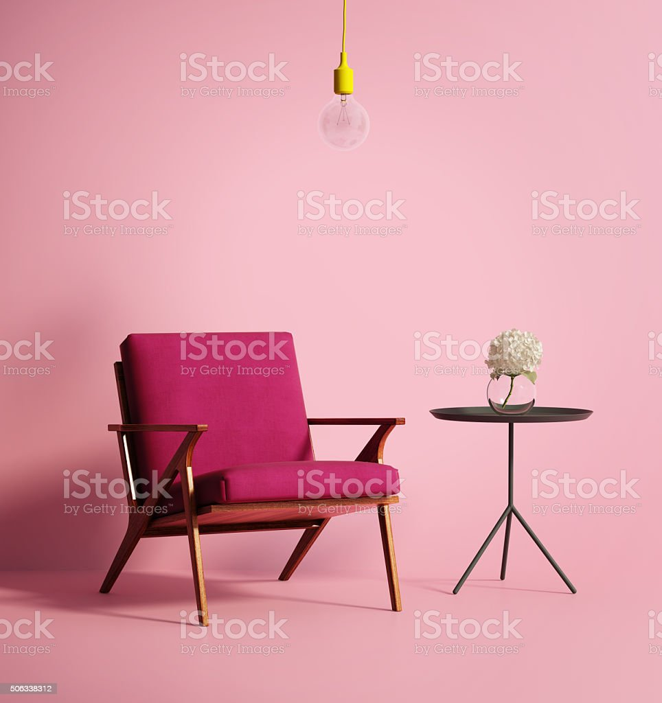 Contemporary pink phux armchair stock photo