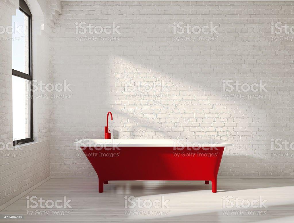 Contemporary red bathtub in a white interior stock photo