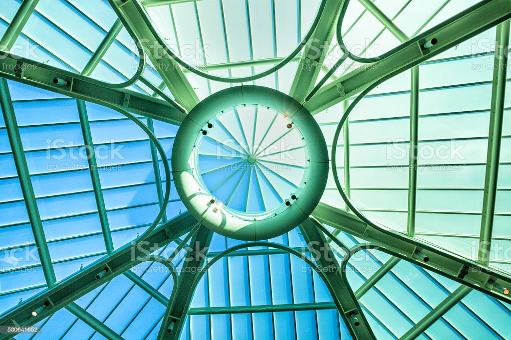Contemporary roof structure with glass stock photo