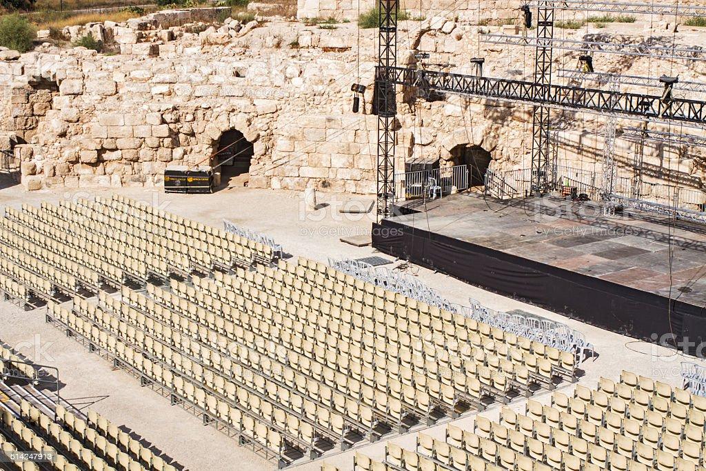 Contemporary scene in the Roman amphitheater. stock photo