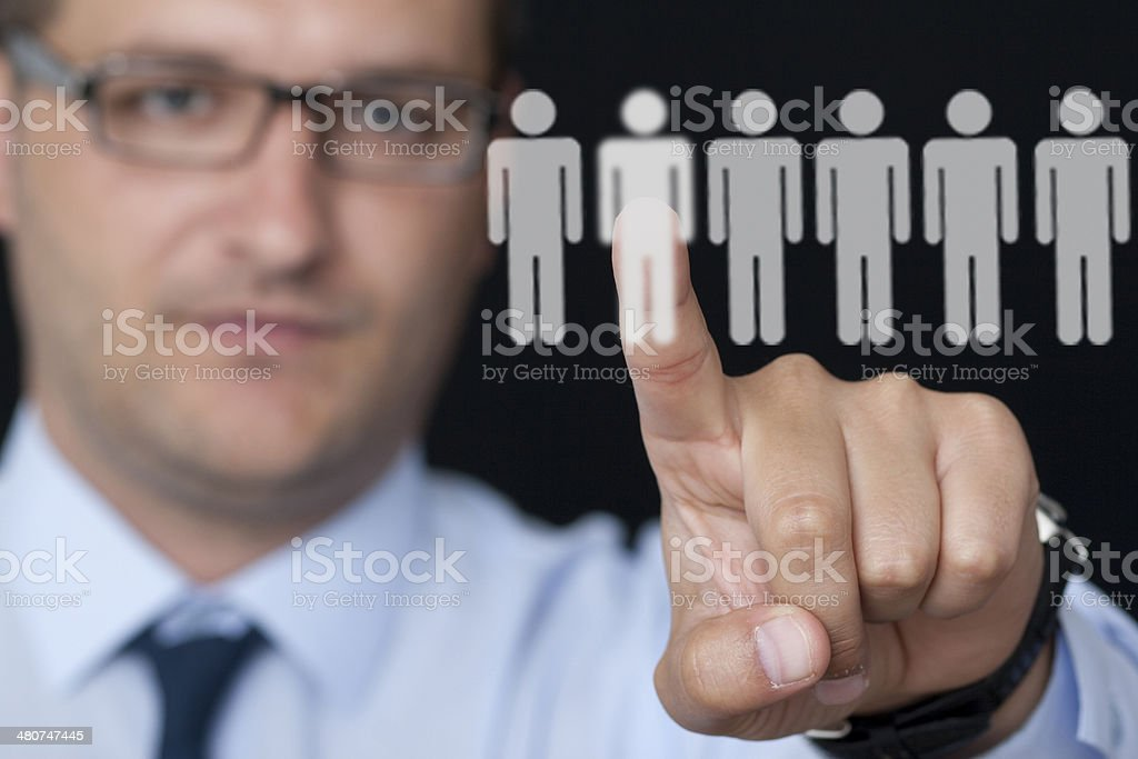 contemporary selection of workers stock photo