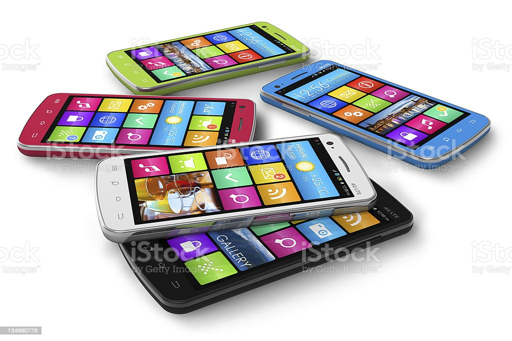 Contemporary set of colorful smartphones on white surface royalty-free stock photo