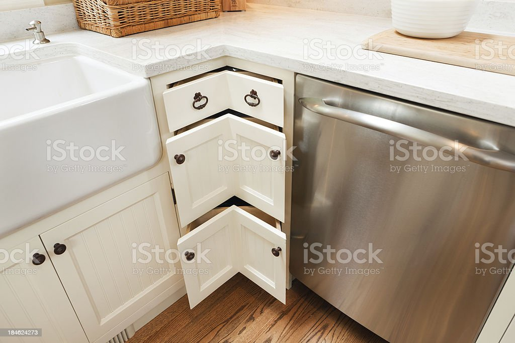 Contemporary Showcase Home Kitchen Design Details Featuring Cabinet Corner Drawers stock photo