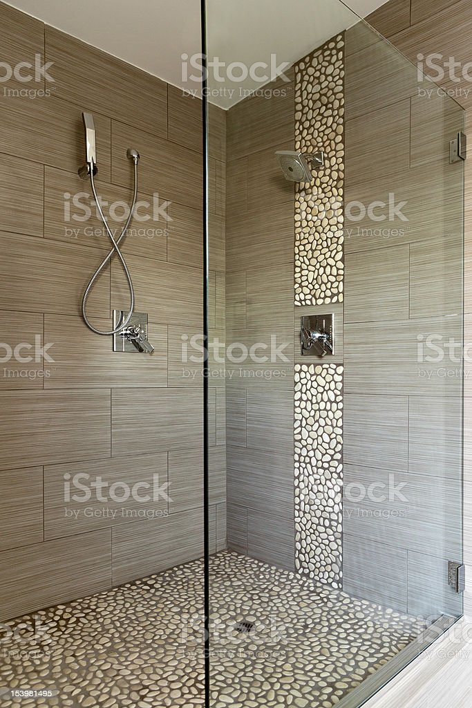 Contemporary Shower Featuring Dual Heads stock photo