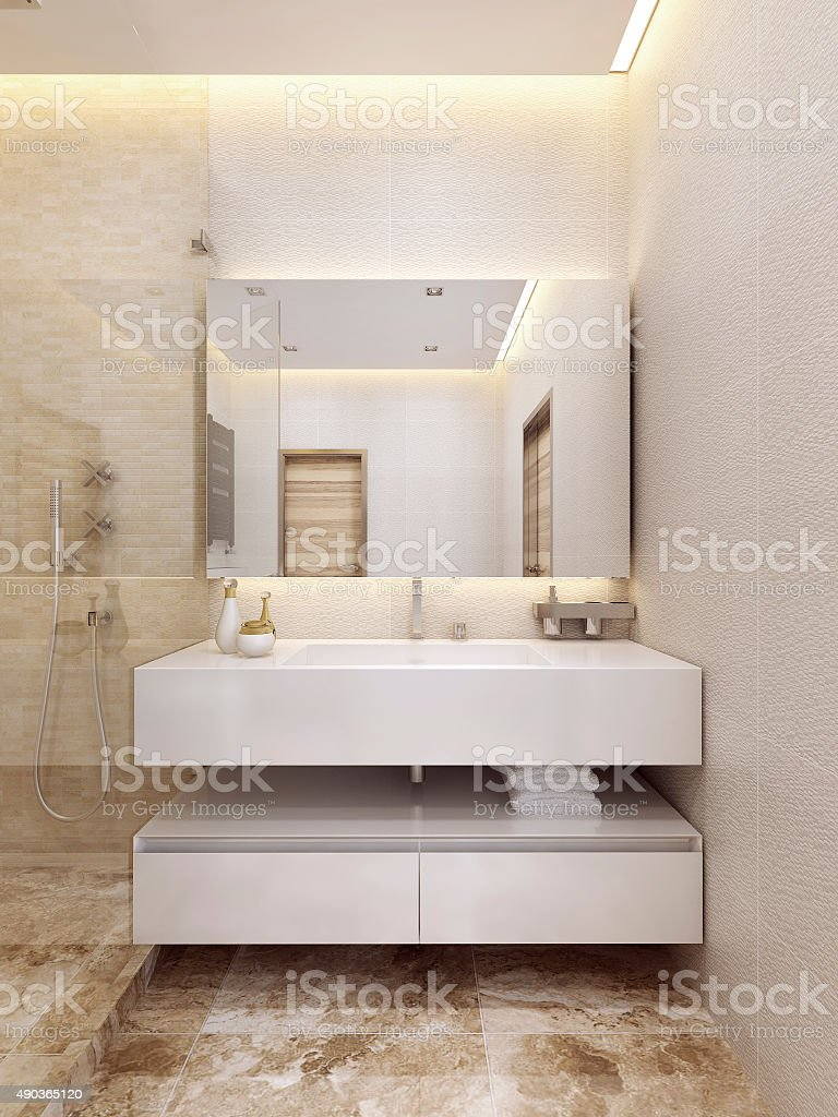 Contemporary Sink console in white color with a shelf. stock photo