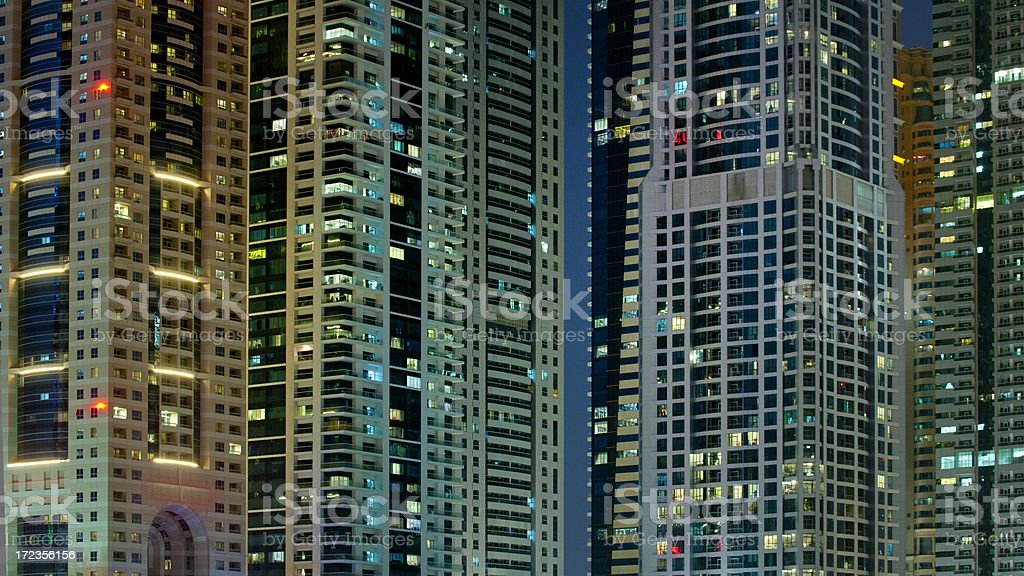 contemporary skyscrapers at night stock photo