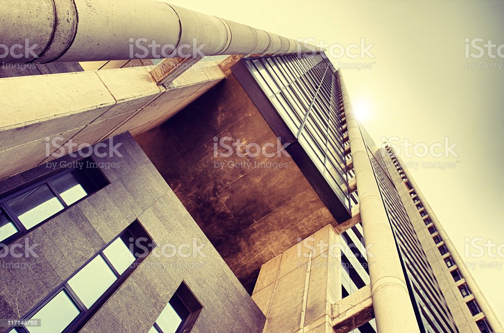 Contemporary stone architecture skyscraper - HDR royalty-free stock photo