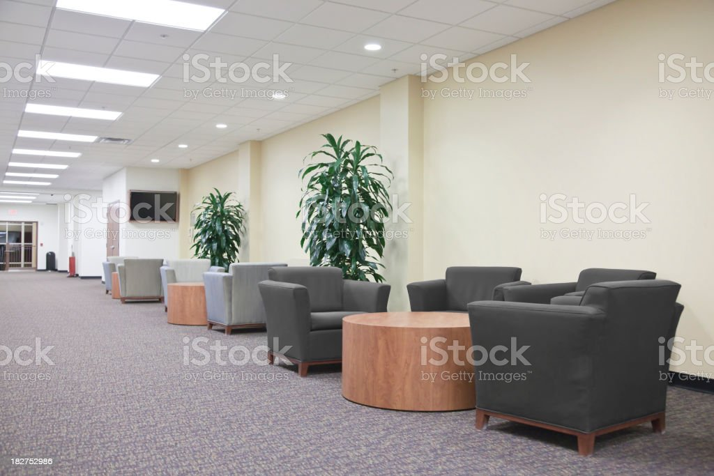 Contemporary style lounge with chairs, tables and two plants royalty-free stock photo
