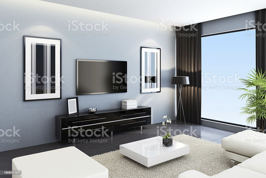 Contemporary TV Room royalty-free stock photo