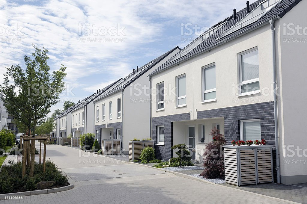 Contemporary twin houses / New settlement stock photo