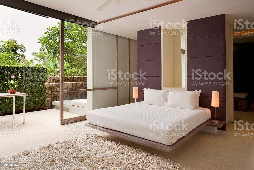 Contemporary Villa Bedroom stock photo