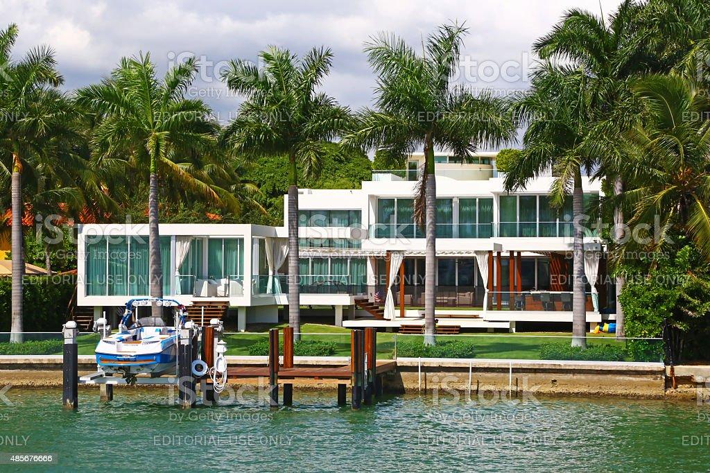 Contemporary villa in Miami Beach, Florida stock photo
